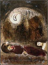 Marc Chagall: Ruth zu Füßen des Boas, 1960, Lithographie, Bilder zur Bibel - Originale | Lithographien | Werke