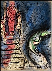 Marc Chagall: König Ahasverus vertreibt Vasthi, 1960, Original-Lithographie, Verve Bibelillustrationen - Werke