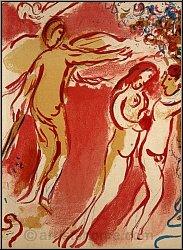 Marc Chagall: Adam und Eva, Paradies, Original-Lithographie Bibel 1960