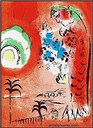 Marc Chagall: 'Bucht der Engel' Engelsbucht (La Baie des Anges), auch 'Die rote Sirene', 1960 - Lithographien