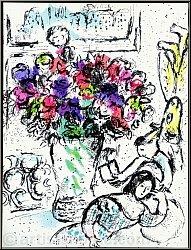 Marc Chagall: Die Anemonen, Original-Lithographie (Frontispiz) Bütten, Blumenstrauß - Bilder | Werke | Drucke