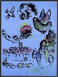 Marc Chagall: 'Nacht in Vence' (Nocturne à Vence) 1963 Saint-Paul de Vence Provence   Original-Lithographien