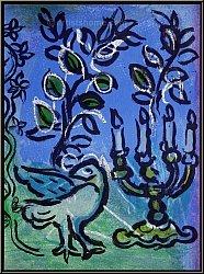 Marc Chagall: Der Kerzenleuchter (Le chandelier) 1962 Original-Lithographie Jerusalem Fenster | Originaldrucke