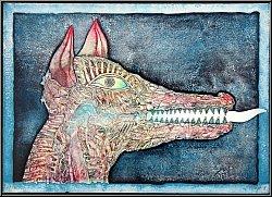Bernhard Jäger: 'Zeigt die Zähne' 1971, Lithographie signiert, Vorsicht bissiger Hund - Werke | Druckgrafik