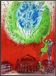 Marc Chagall: Die Oper, L'Opéra de Paris 1954, Original-Lithographie für Derriere le miroir | Werke, Originale