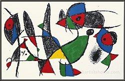 Joan Miro: Frosch, Fisch, Vogel, Original Lithographie IX von 1975 - Bilder | Originale | Werke | Druckgrafik