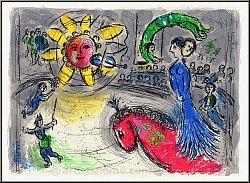 Chagall: Original-Lithographie 'Soleil au Cheval rouge', Sonne mit rotem Pferd und Kunstreiterin im Zirkus