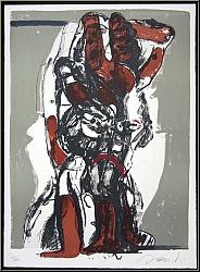 Rolf Szymanski: Druckgrafik 'Black Sun Press' 1973, Lithographie signiert, zu 'Die Frauen von Messina' | Werke
