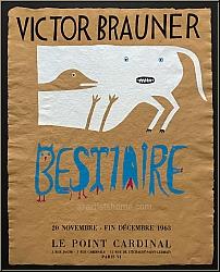 Victor Brauner: 'Bestiaire' Le Point Cardinal 1963, Ausstellungsplakat, Serigraphie - Original-Künstlerplakate