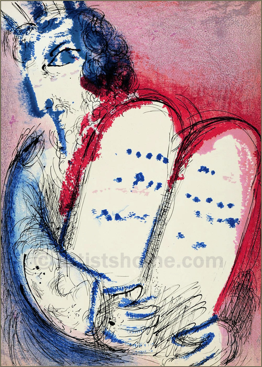 marc chagall moses 10 gebote 1956 original lithographie. Black Bedroom Furniture Sets. Home Design Ideas