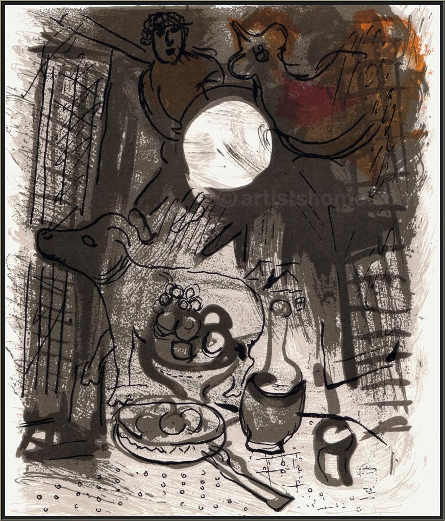 marc chagall stillleben in braun original lithographie 1957 mourlot originalgrafik kaufen. Black Bedroom Furniture Sets. Home Design Ideas