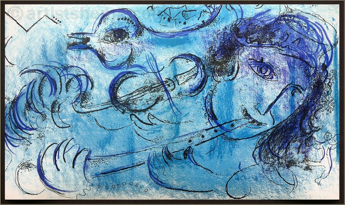 marc chagall der fl tenspieler fl tist 1957 original. Black Bedroom Furniture Sets. Home Design Ideas