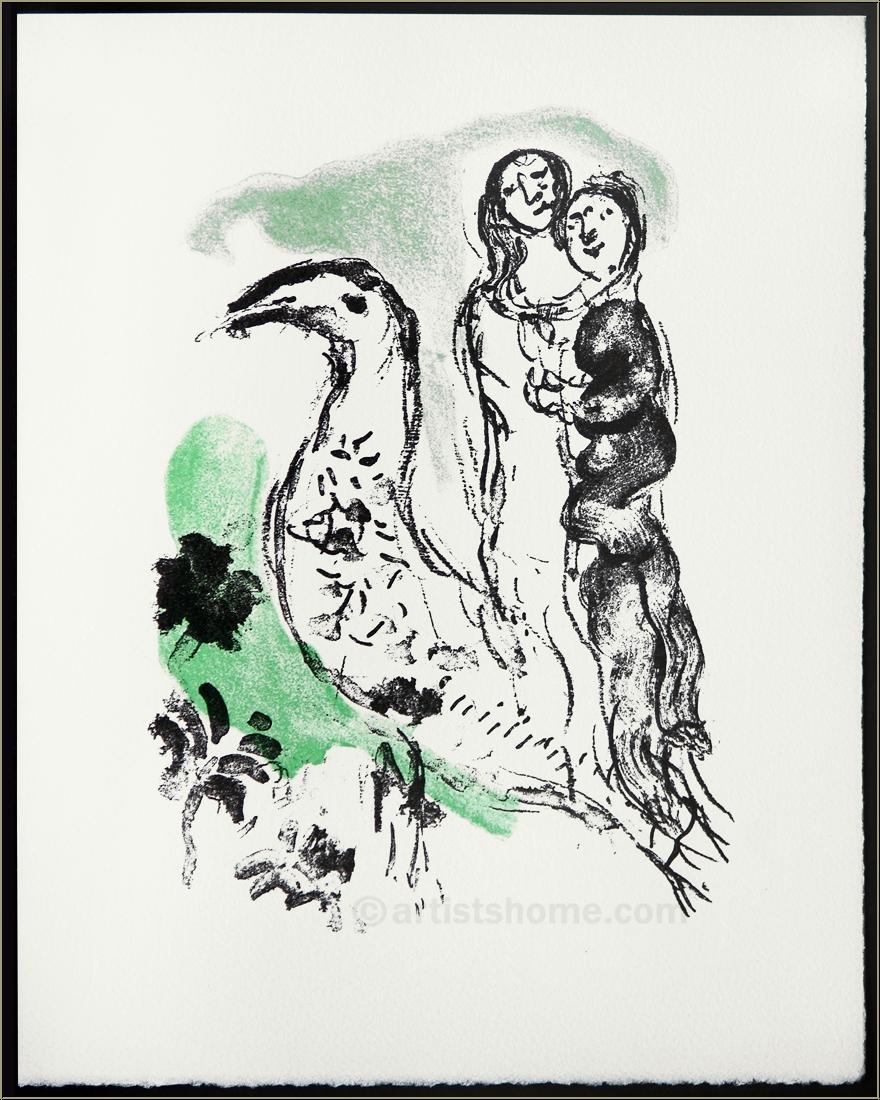 marc chagall liebespaar mit vogel 1969 original. Black Bedroom Furniture Sets. Home Design Ideas