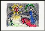 Chagall: Lithographie 'Soleil au Cheval rouge', Sonne mit rotem Pferd, 1979 - Werke   Originale   Drucke