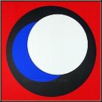 Geneviève Claisse: Siebdruck Kreise Cercles, Schwarz Blau Weiß auf Rot