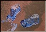 Reiner Schwarz: Lithographie Kinderspiel (Ziegelrot) 1974 Kinderschuhe