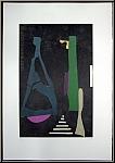 André Lanskoy: Figuren auf Schwarz 1973, Farblithographie handsigniert