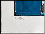 Guillaume Corneille: Frau und Vogel (Femme et oiseau), Blaue Stunde, Lithographie, Künstlerexemplar | Drucke